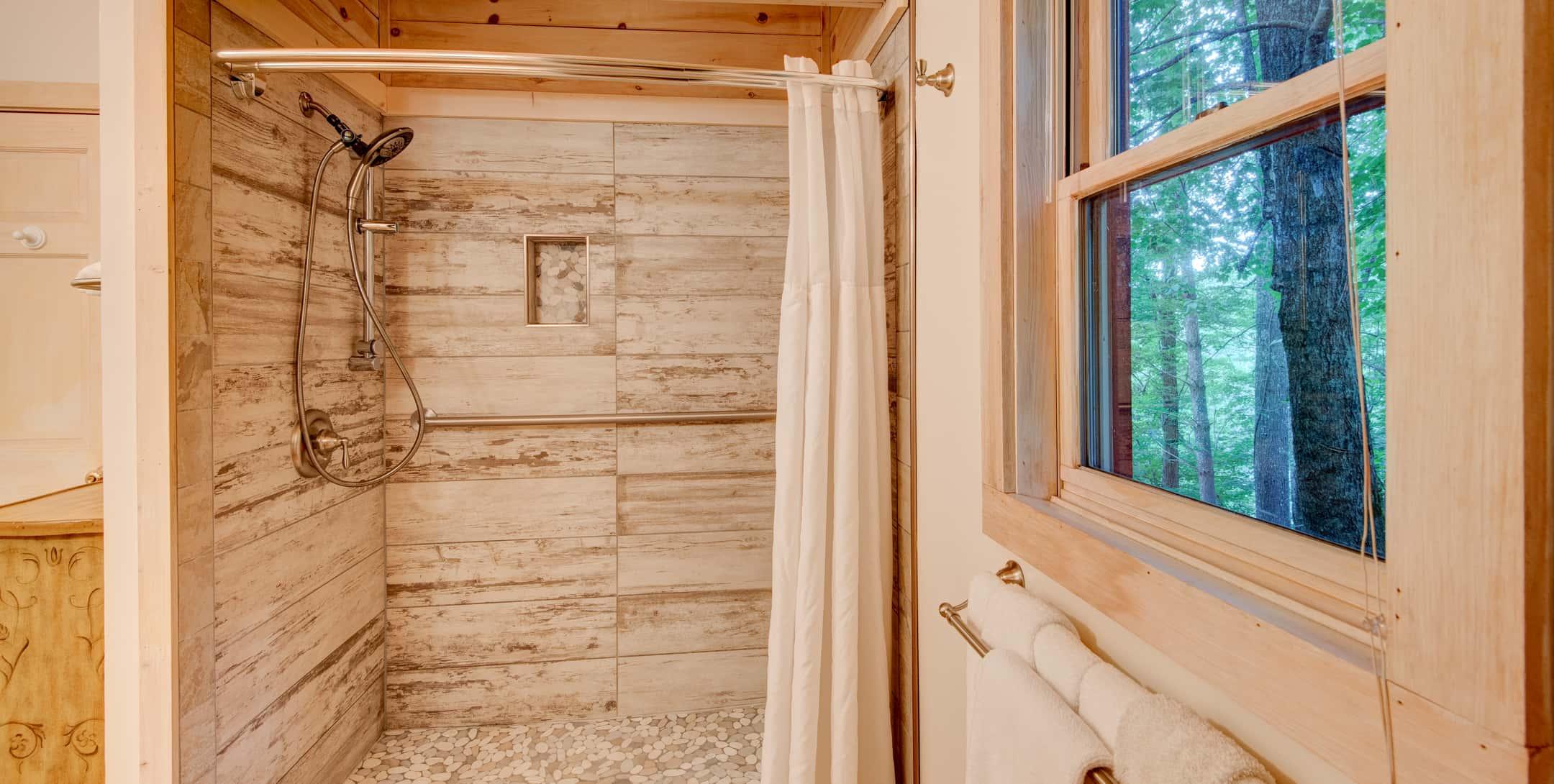 Tiled walk-in shower