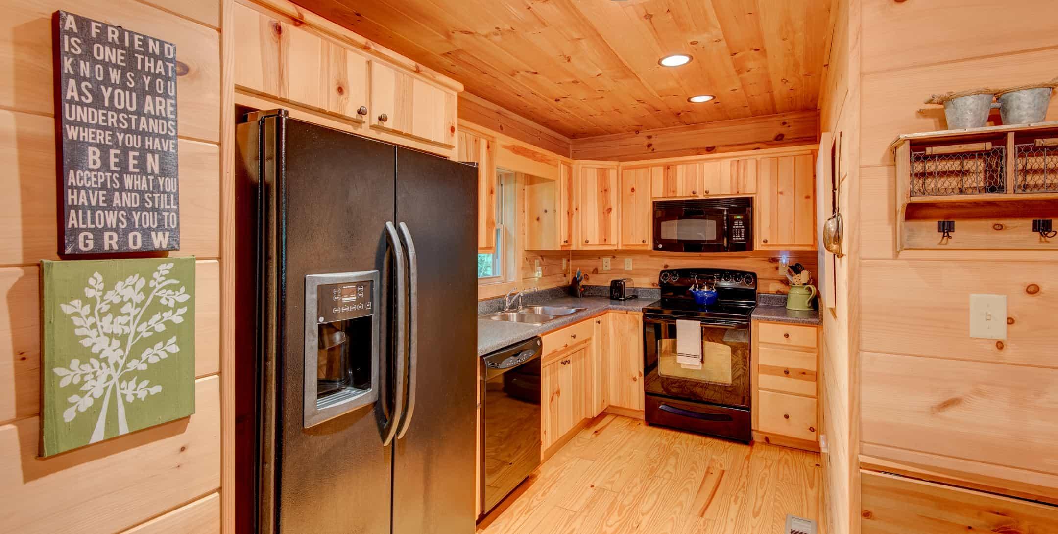 Full kitchen in Mam's Refuge Cabin