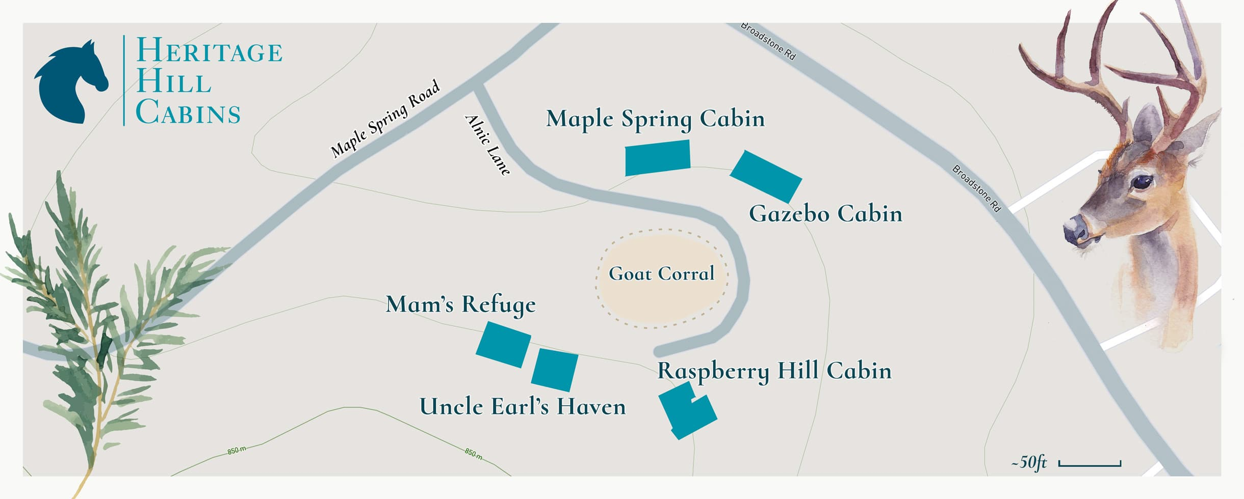 Heritage Hill Cabins - Property Map