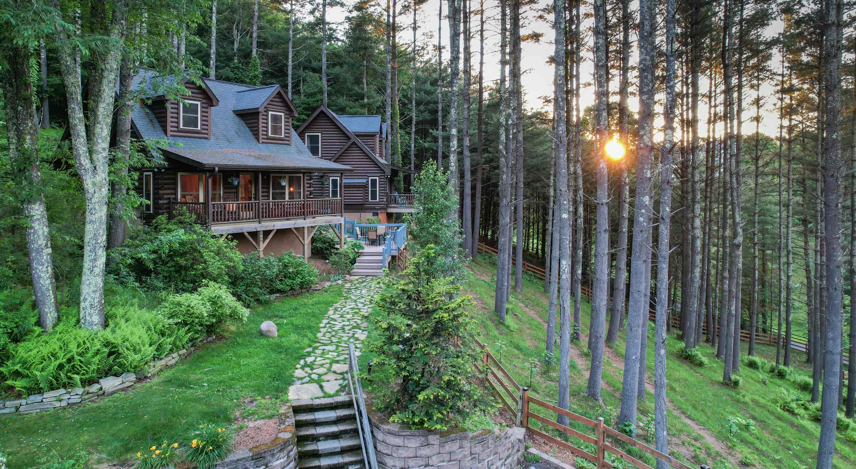 Uncle Earl cabin exterior view of the setting sun