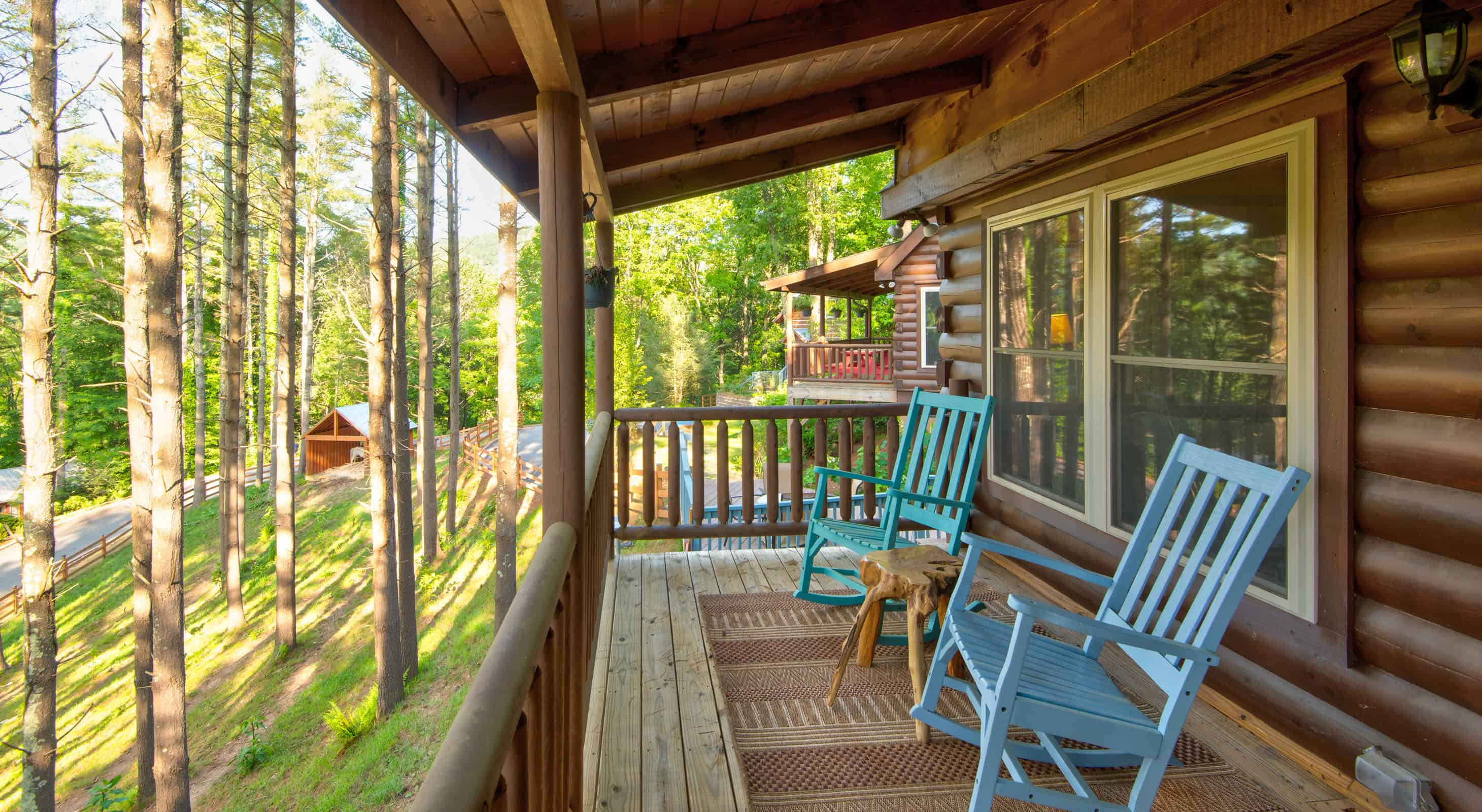 Mam's Refuge deck at our Blue Ridge Mountain Cabins