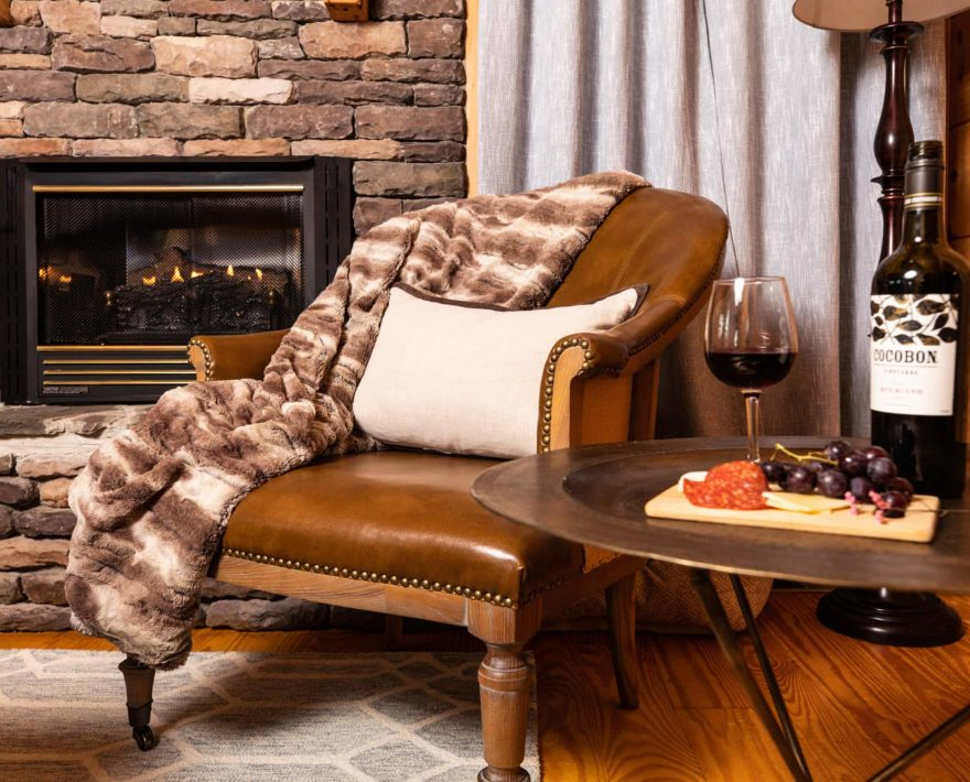 Relax by the fire in Mam's Refuge